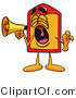 Illustration of a Cartoon Price Tag Mascot Screaming into a Megaphone by Toons4Biz