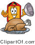 Illustration of a Cartoon Price Tag Mascot Serving a Thanksgiving Turkey on a Platter by Toons4Biz