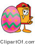 Illustration of a Cartoon Price Tag Mascot Standing Beside an Easter Egg by Toons4Biz