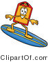 Illustration of a Cartoon Price Tag Mascot Surfing on a Blue and Yellow Surfboard by Toons4Biz