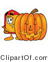 Illustration of a Cartoon Price Tag Mascot with a Carved Halloween Pumpkin by Toons4Biz