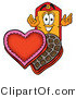 Illustration of a Cartoon Price Tag Mascot with an Open Box of Valentines Day Chocolate Candies by Toons4Biz
