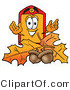 Illustration of a Cartoon Price Tag Mascot with Autumn Leaves and Acorns in the Fall by Toons4Biz