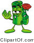 Illustration of a Cartoon Rolled Money Mascot Holding a Red Rose on Valentines Day by Toons4Biz
