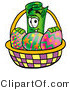 Illustration of a Cartoon Rolled Money Mascot in an Easter Basket Full of Decorated Easter Eggs by Toons4Biz