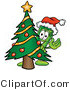 Illustration of a Cartoon Rolled Money Mascot Waving and Standing by a Decorated Christmas Tree by Toons4Biz