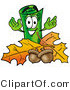 Illustration of a Cartoon Rolled Money Mascot with Autumn Leaves and Acorns in the Fall by Toons4Biz