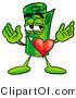 Illustration of a Cartoon Rolled Money Mascot with His Heart Beating out of His Chest by Toons4Biz