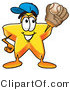 Illustration of a Cartoon Star Mascot Catching a Baseball with a Glove by Toons4Biz