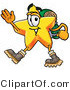 Illustration of a Cartoon Star Mascot Hiking and Carrying a Backpack by Toons4Biz