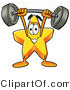 Illustration of a Cartoon Star Mascot Holding a Heavy Barbell Above His Head by Toons4Biz