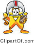 Illustration of a Cartoon Star Mascot in a Helmet, Holding a Football by Toons4Biz