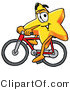 Illustration of a Cartoon Star Mascot Riding a Bicycle by Toons4Biz