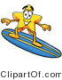 Illustration of a Cartoon Star Mascot Surfing on a Blue and Yellow Surfboard by Toons4Biz
