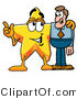 Illustration of a Cartoon Star Mascot Talking to a Business Man by Toons4Biz