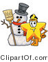 Illustration of a Cartoon Star Mascot with a Snowman on Christmas by Toons4Biz
