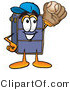 Illustration of a Cartoon Suitcase Mascot Catching a Baseball with a Glove by Toons4Biz