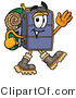 Illustration of a Cartoon Suitcase Mascot Hiking and Carrying a Backpack by Toons4Biz