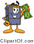Illustration of a Cartoon Suitcase Mascot Holding a Dollar Bill by Toons4Biz