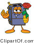 Illustration of a Cartoon Suitcase Mascot Holding a Red Rose on Valentines Day by Toons4Biz