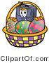 Illustration of a Cartoon Suitcase Mascot in an Easter Basket Full of Decorated Easter Eggs by Toons4Biz