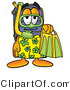 Illustration of a Cartoon Suitcase Mascot in Green and Yellow Snorkel Gear by Toons4Biz