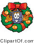 Illustration of a Cartoon Suitcase Mascot in the Center of a Christmas Wreath by Toons4Biz