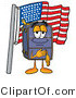 Illustration of a Cartoon Suitcase Mascot Pledging Allegiance to an American Flag by Toons4Biz