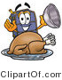 Illustration of a Cartoon Suitcase Mascot Serving a Thanksgiving Turkey on a Platter by Toons4Biz