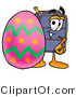 Illustration of a Cartoon Suitcase Mascot Standing Beside an Easter Egg by Toons4Biz