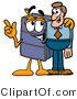 Illustration of a Cartoon Suitcase Mascot Talking to a Business Man by Toons4Biz