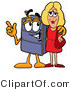 Illustration of a Cartoon Suitcase Mascot Talking to a Pretty Blond Woman by Toons4Biz