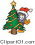 Illustration of a Cartoon Suitcase Mascot Waving and Standing by a Decorated Christmas Tree by Toons4Biz