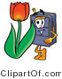 Illustration of a Cartoon Suitcase Mascot with a Red Tulip Flower in the Spring by Toons4Biz