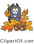 Illustration of a Cartoon Suitcase Mascot with Autumn Leaves and Acorns in the Fall by Toons4Biz