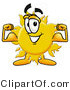 Illustration of a Cartoon Sun Mascot Flexing His Arm Muscles by Toons4Biz
