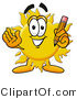 Illustration of a Cartoon Sun Mascot Holding a Pencil by Toons4Biz