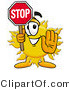Illustration of a Cartoon Sun Mascot Holding a Stop Sign by Toons4Biz