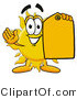 Illustration of a Cartoon Sun Mascot Holding a Yellow Sales Price Tag by Toons4Biz