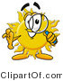 Illustration of a Cartoon Sun Mascot Looking Through a Magnifying Glass by Toons4Biz