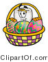 Illustration of a Cartoon Tooth Mascot in an Easter Basket Full of Decorated Easter Eggs by Toons4Biz