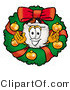 Illustration of a Cartoon Tooth Mascot in the Center of a Christmas Wreath by Toons4Biz