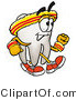 Illustration of a Cartoon Tooth Mascot Speed Walking or Jogging by Toons4Biz