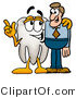 Illustration of a Cartoon Tooth Mascot Talking to a Business Man by Toons4Biz