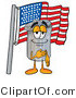 Illustration of a Cartoon Trash Can Mascot Pledging Allegiance to an American Flag by Toons4Biz