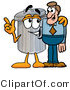 Illustration of a Cartoon Trash Can Mascot Talking to a Business Man by Toons4Biz