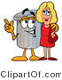 Illustration of a Cartoon Trash Can Mascot Talking to a Pretty Blond Woman by Toons4Biz