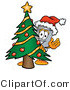 Illustration of a Cartoon Trash Can Mascot Waving and Standing by a Decorated Christmas Tree by Toons4Biz