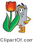 Illustration of a Cartoon Trash Can Mascot with a Red Tulip Flower in the Spring by Toons4Biz