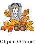 Illustration of a Cartoon Trash Can Mascot with Autumn Leaves and Acorns in the Fall by Toons4Biz